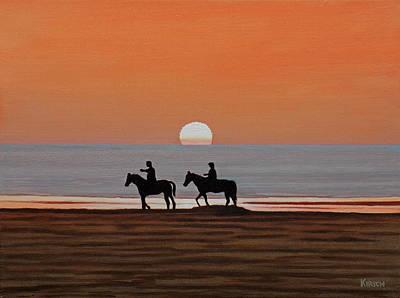 Riding Sunset Beach Poster
