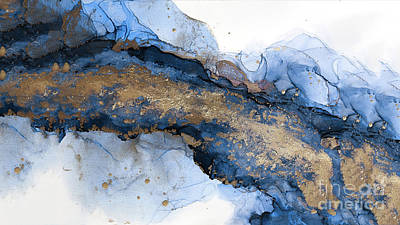 River Of Blue And Gold Abstract Painting Poster