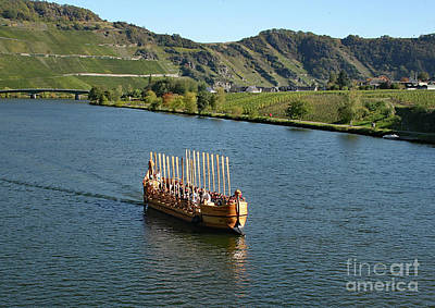 Poster featuring the photograph Roman Warship On The Mosel by PJ Boylan