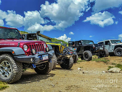 Row Of Jeeps Poster