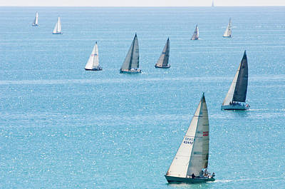 Sailboats Racing On Blue Water Poster