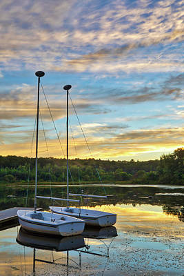 Poster featuring the photograph Sailing Lake Waban by Juergen Roth