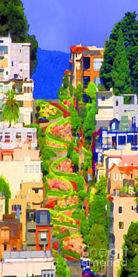 Poster featuring the photograph San Francisco Lombard Street Crookedest Street In America 20180928 Long by Wingsdomain Art and Photography