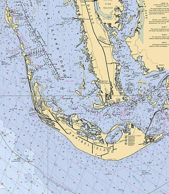 Sanibel And Captiva Islands Nautical Chart Poster
