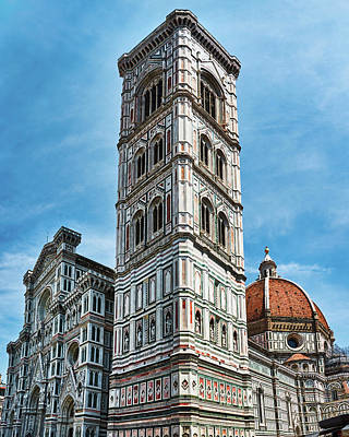 Santa Maria Del Fiore Cathedral Doorway And Bell Tower Poster