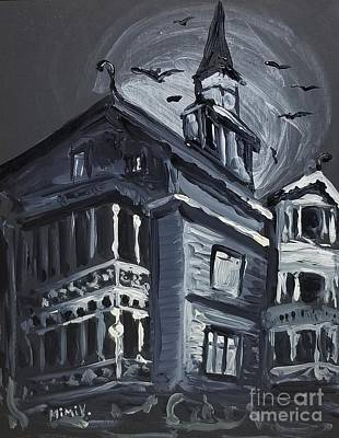 Poster featuring the painting Scary Old House by Maria Langgle