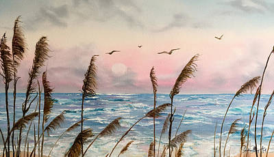 Sea Oats And Seagulls  Poster