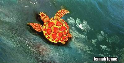 Poster featuring the painting Sea Turtle  by Jennah Lenae
