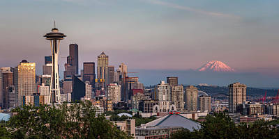 Poster featuring the photograph Seattle Skyline And Mt. Rainier Panoramic by Adam Romanowicz