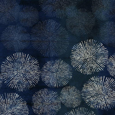 Shibori Sea Urchin Burst Pattern Dark Denim Poster