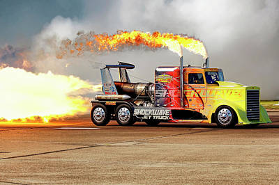 Poster featuring the photograph Shockwave Jet Truck - Nhra - Peterbilt Drag Racing by Jason Politte