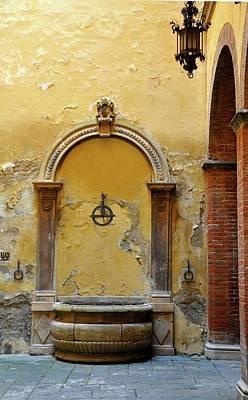Sienna Fountain Courtyard Poster