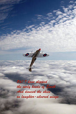 Poster featuring the photograph Silver Spitfire - Slipping The Surly Bonds ... by Gary Eason