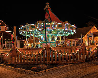Poster featuring the photograph Smithville Carousel At Night by Kristia Adams