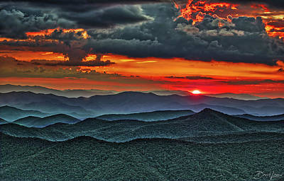 Poster featuring the photograph Smoky Mountain Sunset And Storm by David A Lane