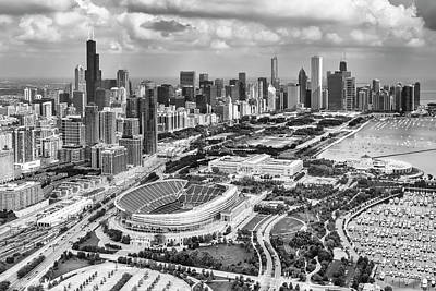 Poster featuring the photograph Soldier Field And Chicago Skyline Black And White by Adam Romanowicz