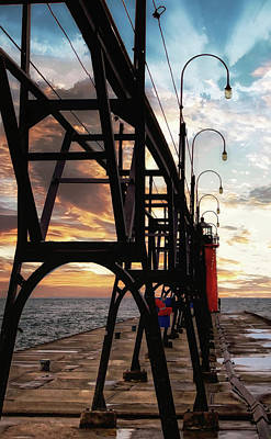 Poster featuring the photograph South Haven Pier Sunset by Lars Lentz