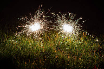 Poster featuring the photograph Sparklers In The Grass by Scott Lyons