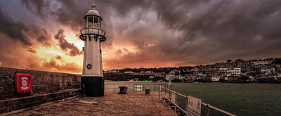 St Ives Cornwall - Lighthouse Sunset Poster