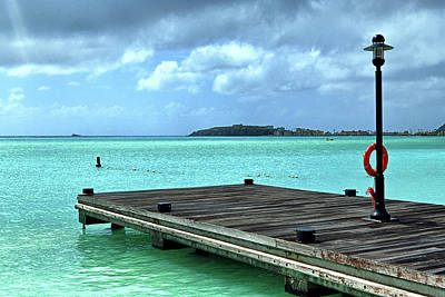 Poster featuring the photograph St. Maarten Pier In Aqua Caribbean Waters by Bill Swartwout Fine Art Photography