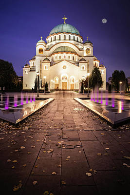 St. Sava Temple In Belgrade Nightscape Poster