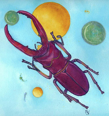 Stag Beetle In Space Poster