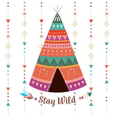 Stay Wild - Boho Chic Ethnic Nursery Art Poster Print Poster