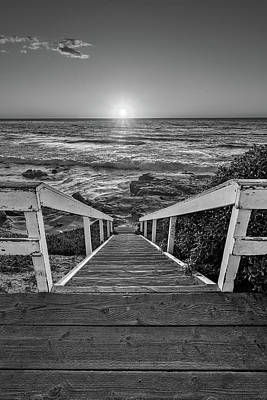 Steps To The Sun  Black And White Poster