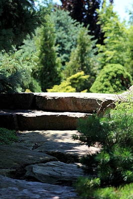 Stone Stairs In Chicago Botanical Gardens Poster