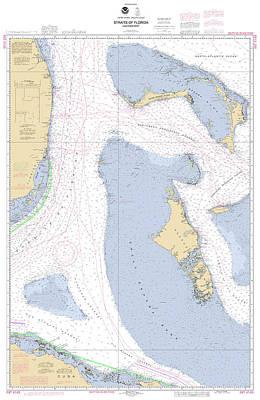 Straits Of Florida, Eastern Part Noaa Nautical Chart Poster