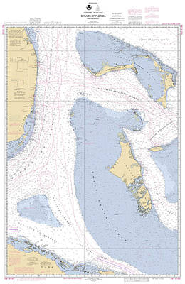 Straits Of Florids, Eastern Part Noaa Chart 4149 Edited. Poster