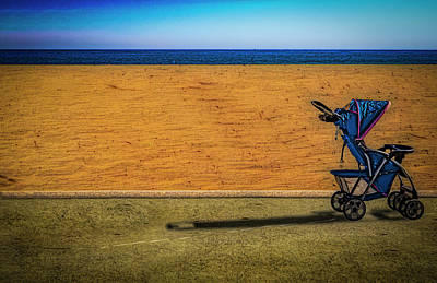 Stroller At The Beach Poster