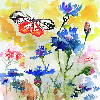 Poster featuring the painting Summer Butterfly In Cornflowers by Ginette Callaway