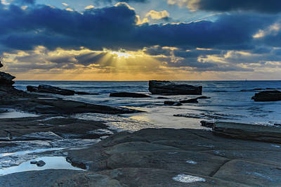 Sun Rays Burst Through The Clouds - Seascape Poster
