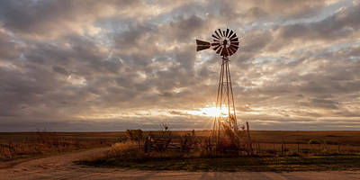 Poster featuring the photograph Sunrise And Windmill by Scott Bean