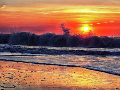 Poster featuring the photograph Sunrise At 142nd Street Beach Ocean City by Bill Swartwout Fine Art Photography