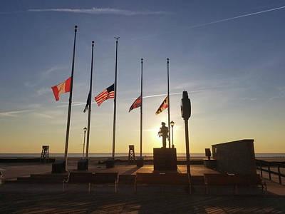 Poster featuring the photograph Sunrise At Firefighter Memorial by Robert Banach
