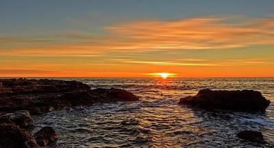 Sunrise By The Mediterranean Sea In Oropesa, Castellon Poster