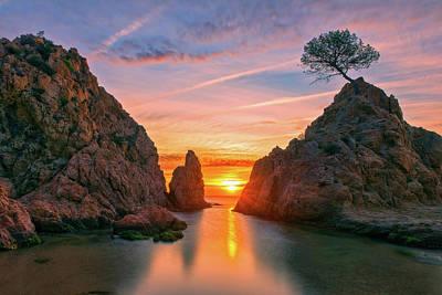 Sunrise In The Village Of Tossa De Mar, Costa Brava Poster