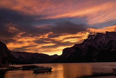 Sunrise Over Lake Minnewanka, Banff National Park, Alberta, Cana Poster