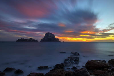 Sunset In The Mediterranean Sea With The Island Of Es Vedra Poster