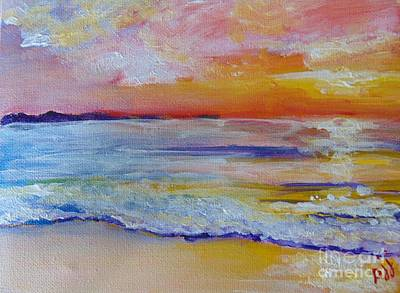 Poster featuring the painting Sunset On The Gulf by Saundra Johnson