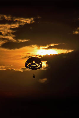 Poster featuring the photograph Sunset Parasailing In Key West by Bob Slitzan