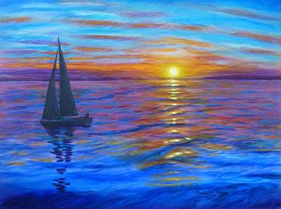 Poster featuring the painting Sunset Sail by Amelie Simmons