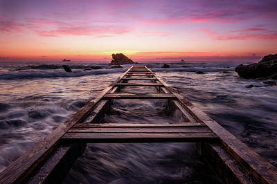 Sunset Shining Over A Wooden Pier In Livorno, Tuscany Poster