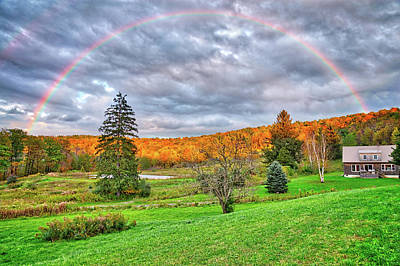 Poster featuring the photograph Sunset Storm Rainbow - Upstate New York by Lynn Bauer