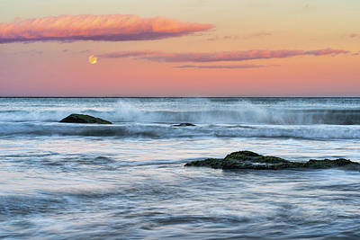 Super Moon And Sunset At Sozopol Town Beach Poster