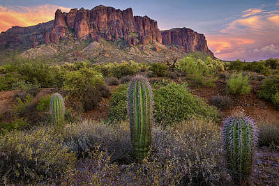 Superstitions And Cactus At Lost Dutchman  Poster