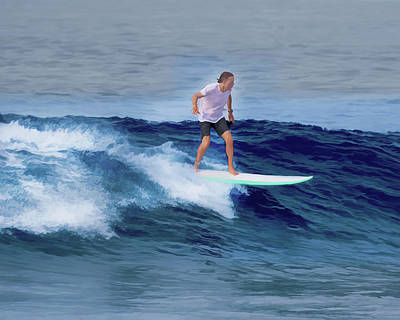 Poster featuring the painting Surfing Andy by Deborah Boyd