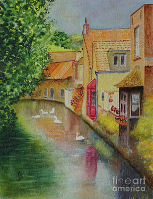 Poster featuring the painting Swan Canal by Karen Fleschler
